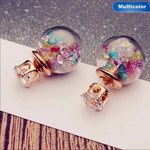NEW Multicolor crystal Ball Double sided earrings